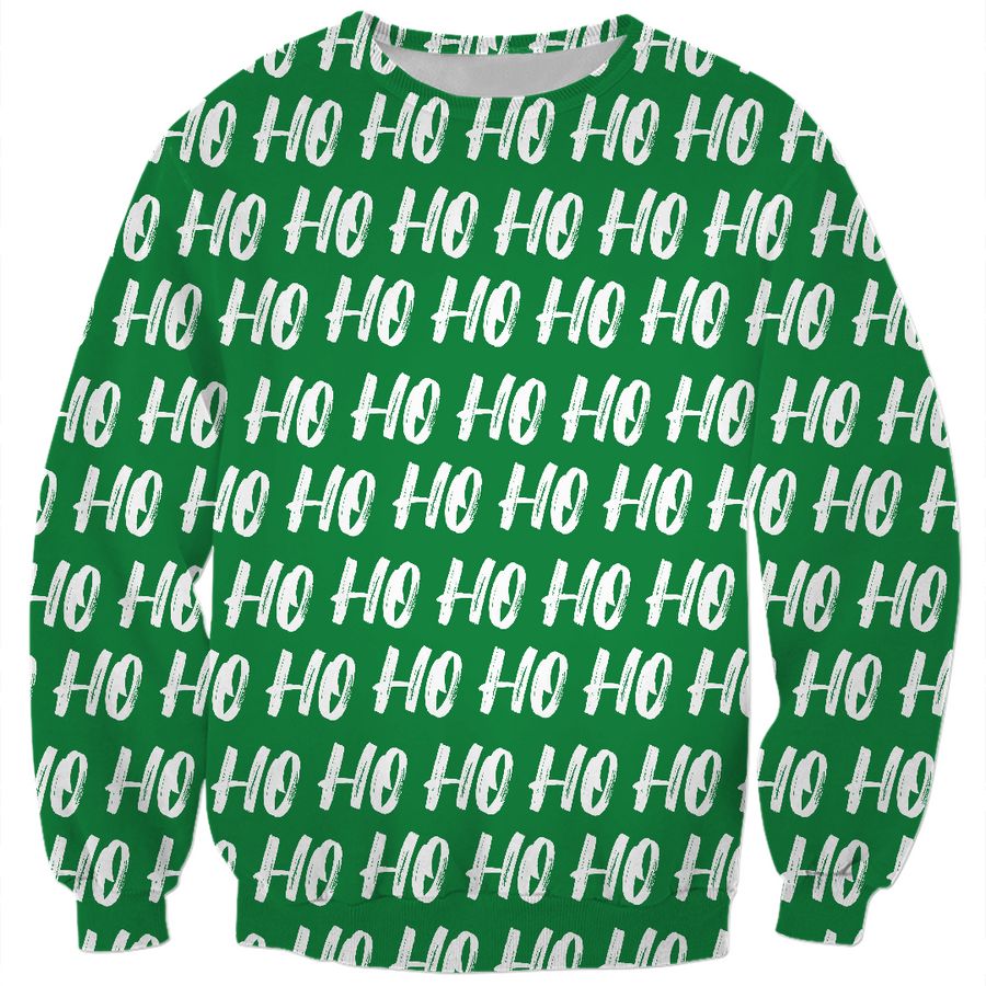 ho ho ho on green ugly Christmas kids sweater,
