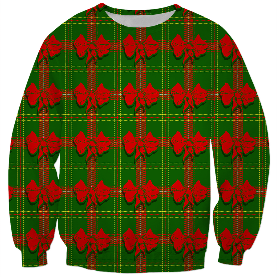 green christmas plaid ugly Christmas kids sweater