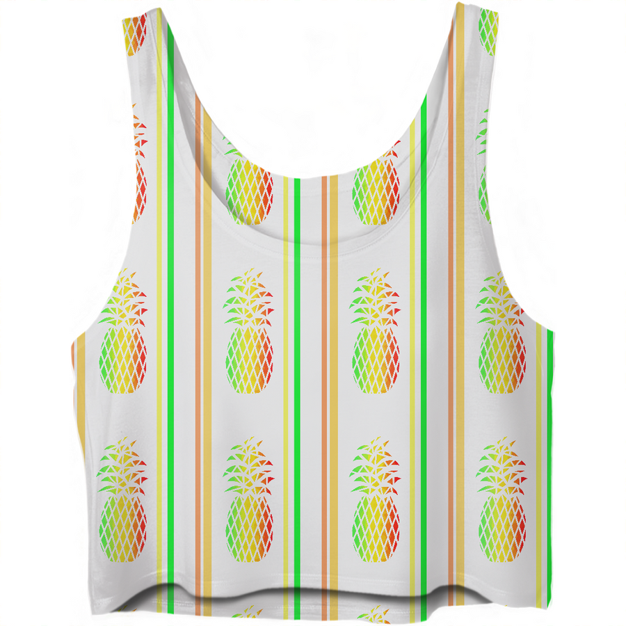 Pineapple Punch With Stripes Crop Top