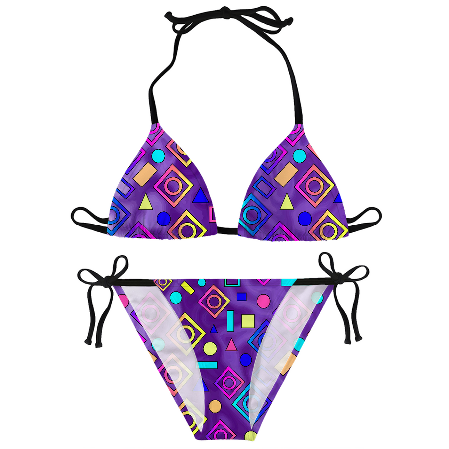 Geometric Shapes Purple Bikini