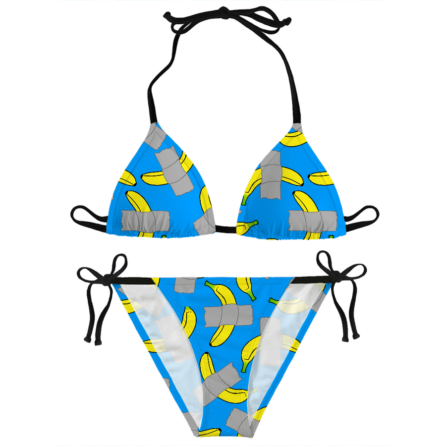 taped banana art bikini