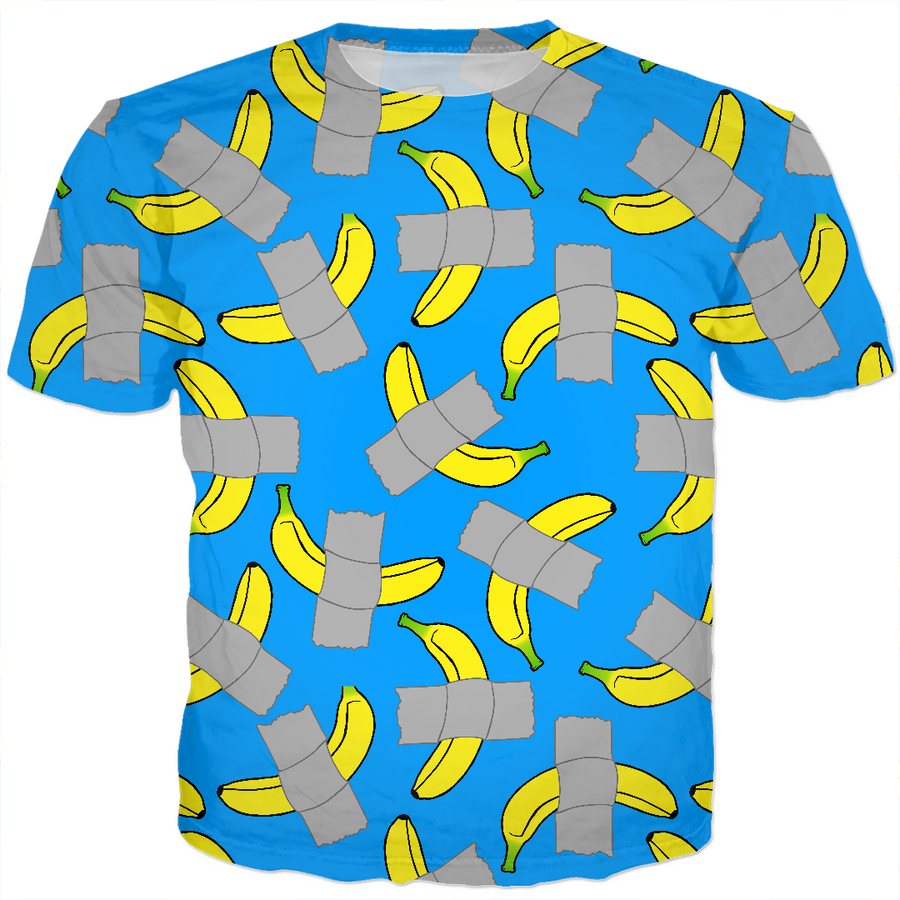 taped banana art kids tee