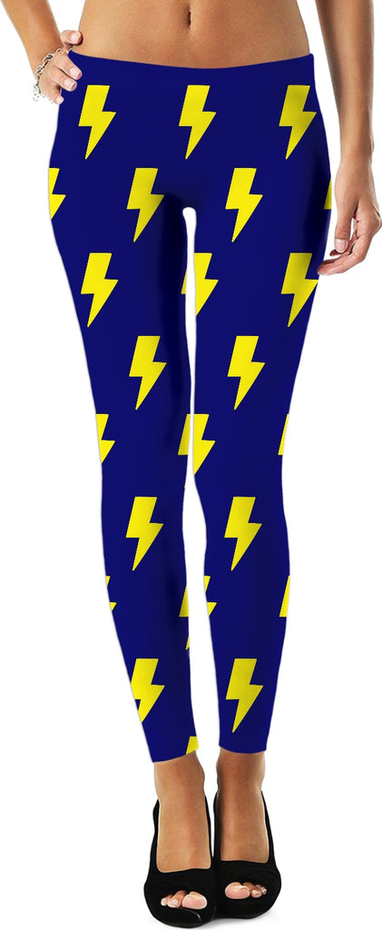 Yellow Lightning Bolts Blue Leggings