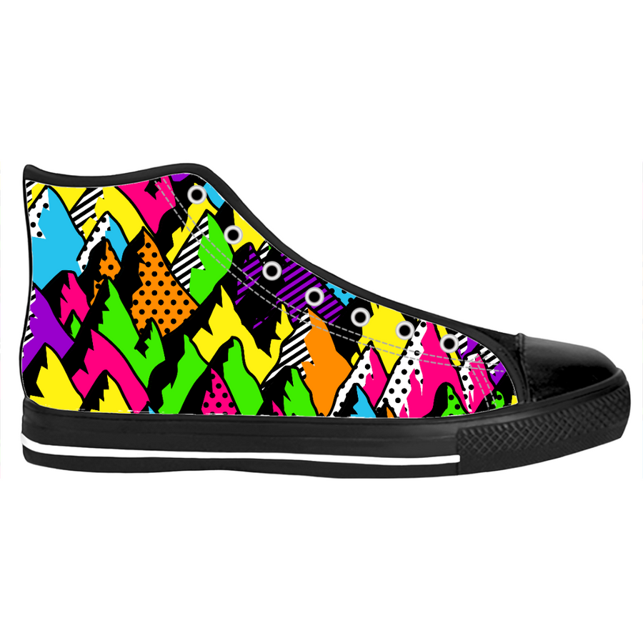abstract poppy mountains high top sneakers