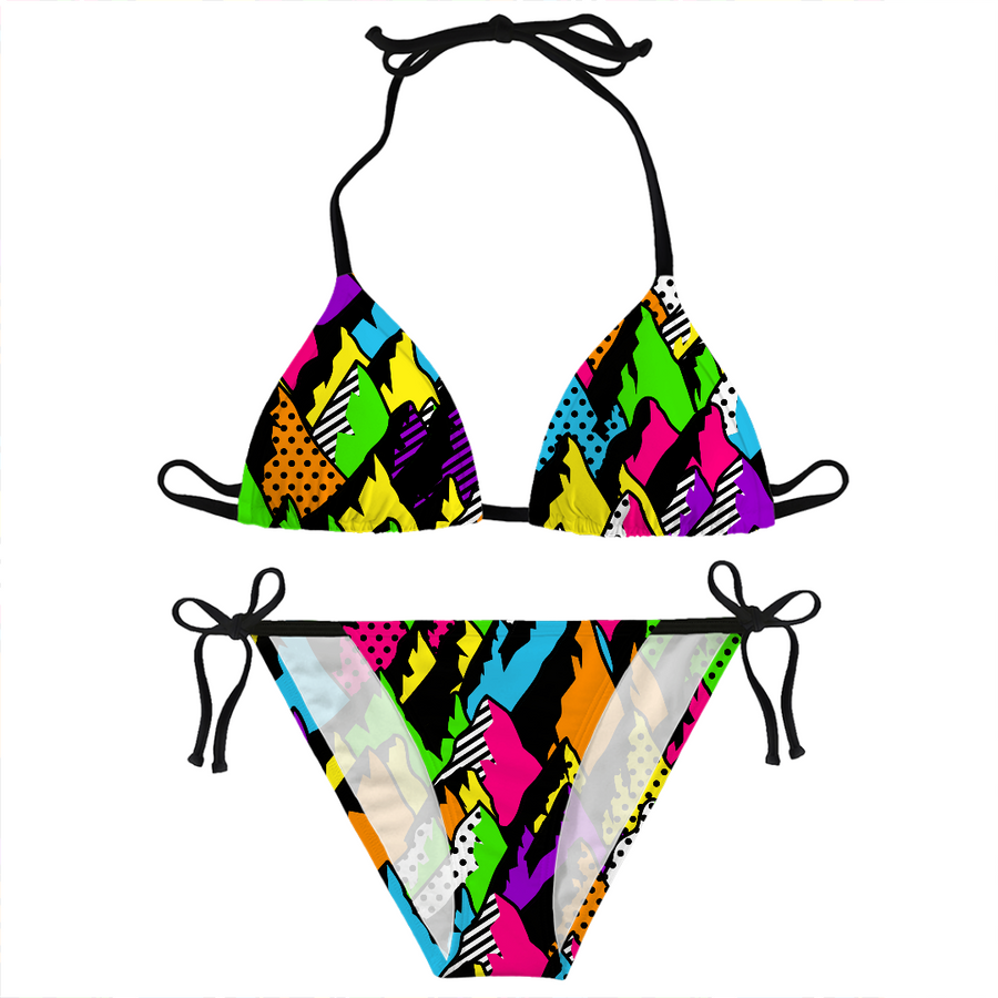 abstract poppy mountains bikini