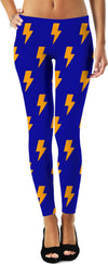 Orange Lightning Bolts Blue Leggings
