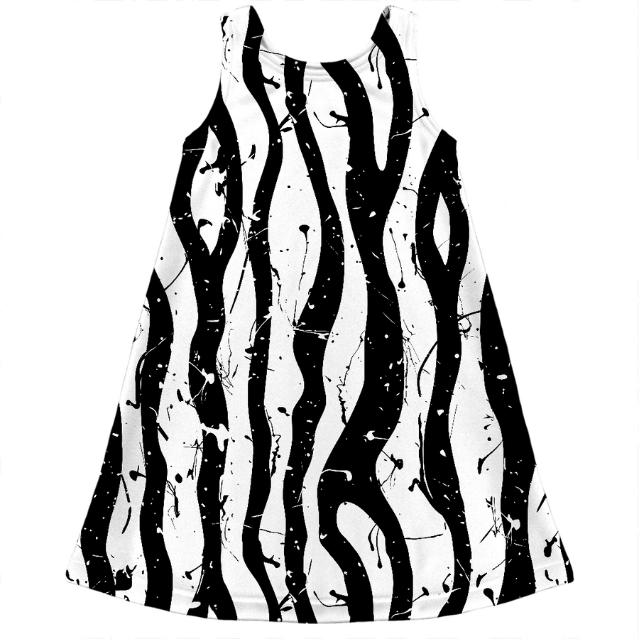paint splatter black and white zebra stripes girls dress
