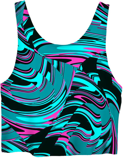 Teal and Black Abstract Rave Crop Top