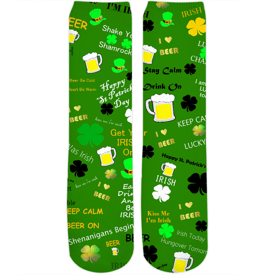 St Patrick's Day Collage Crew Socks