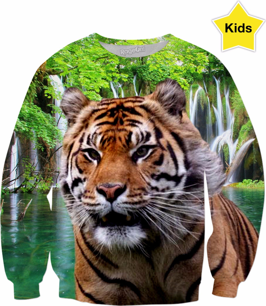Tiger and Waterfall Kids Sweatshirt