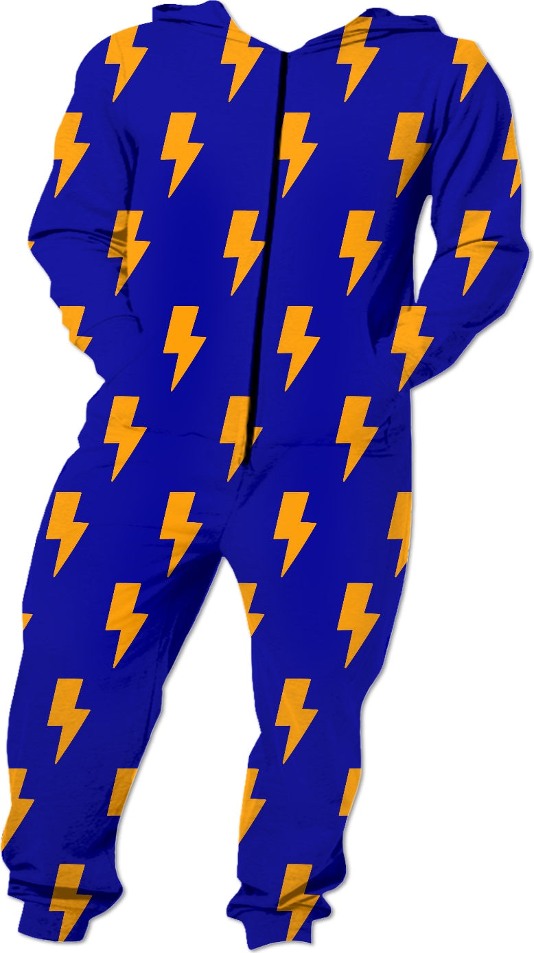 Orange Lightning Bolts Blue Onesie