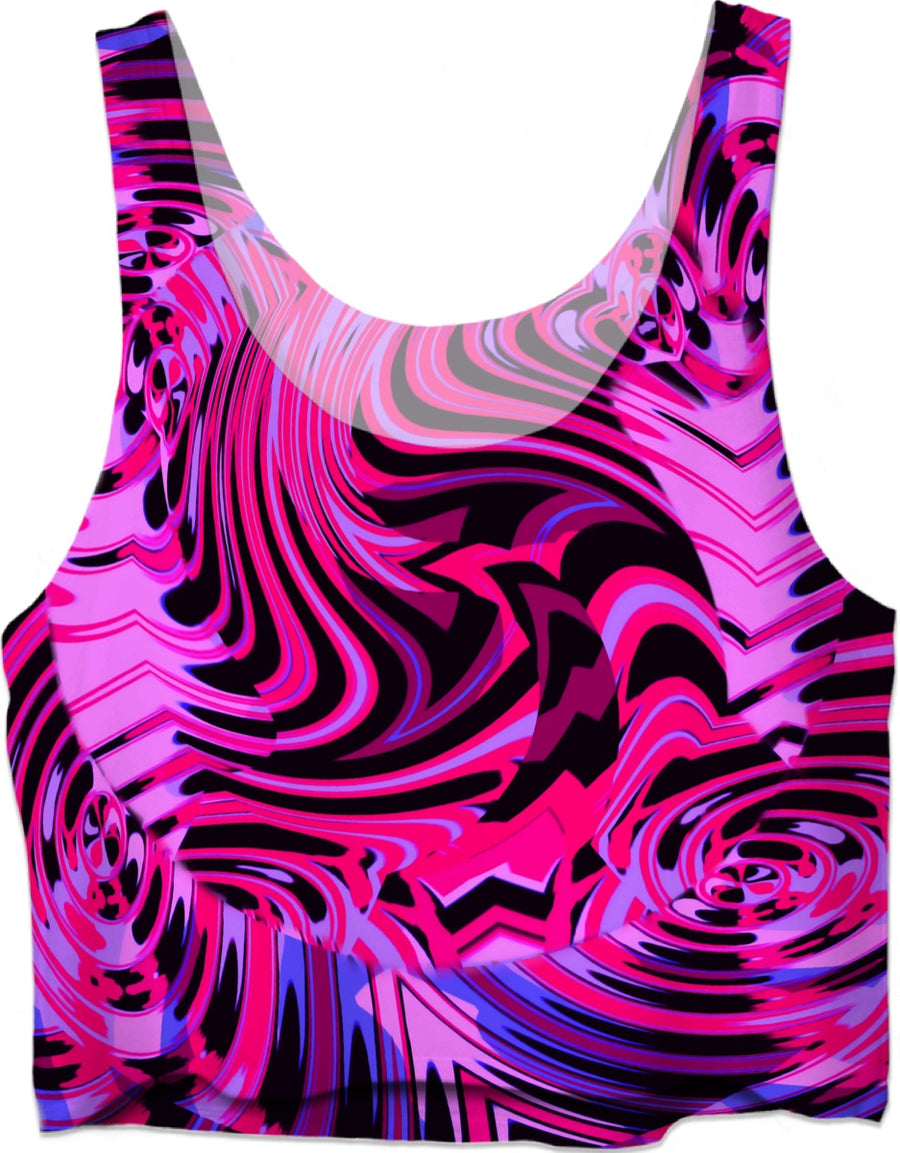 Pink and Black Fractal Crop Top