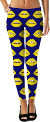Yellow Lips Blue Leggings
