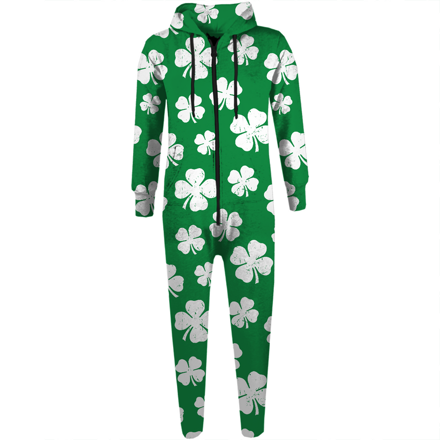 St. Paddy's Day Shamrock Pattern Adult Onesie