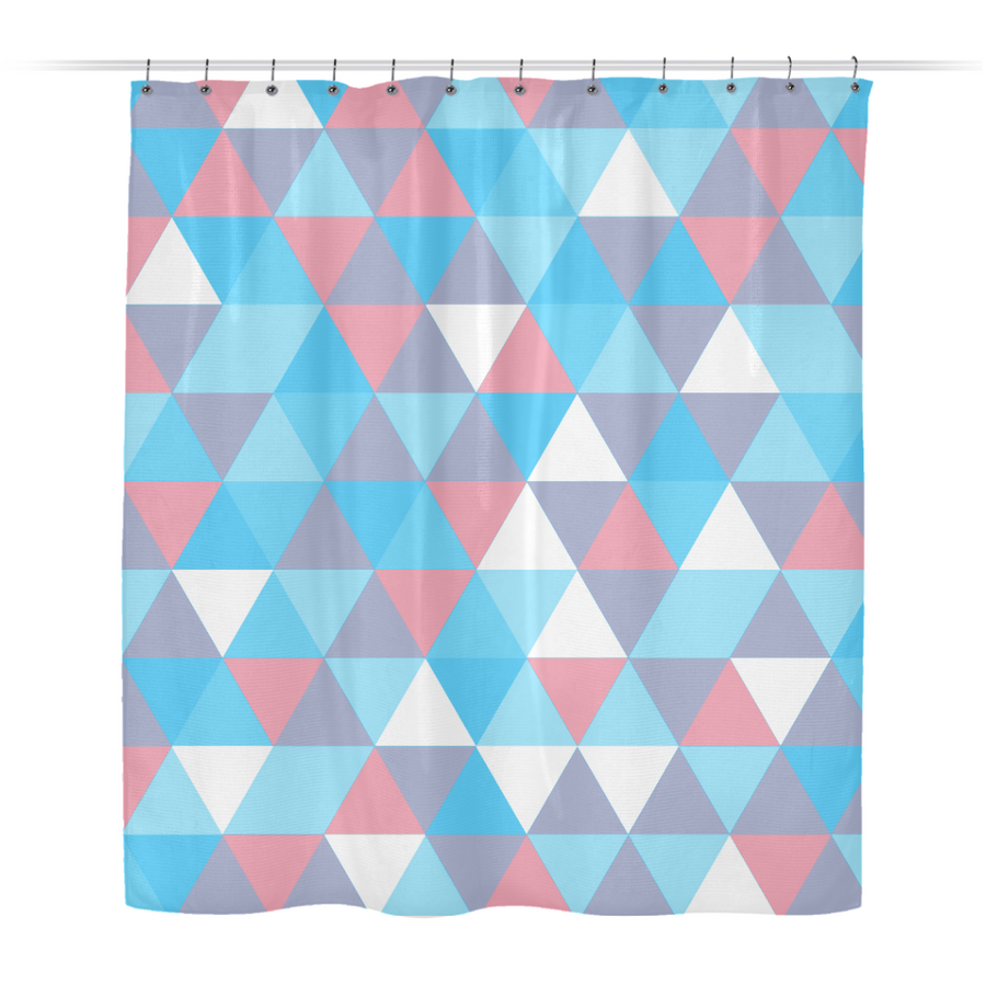 Transgender Pride Alternating Triangles Pattern Shower Curtain