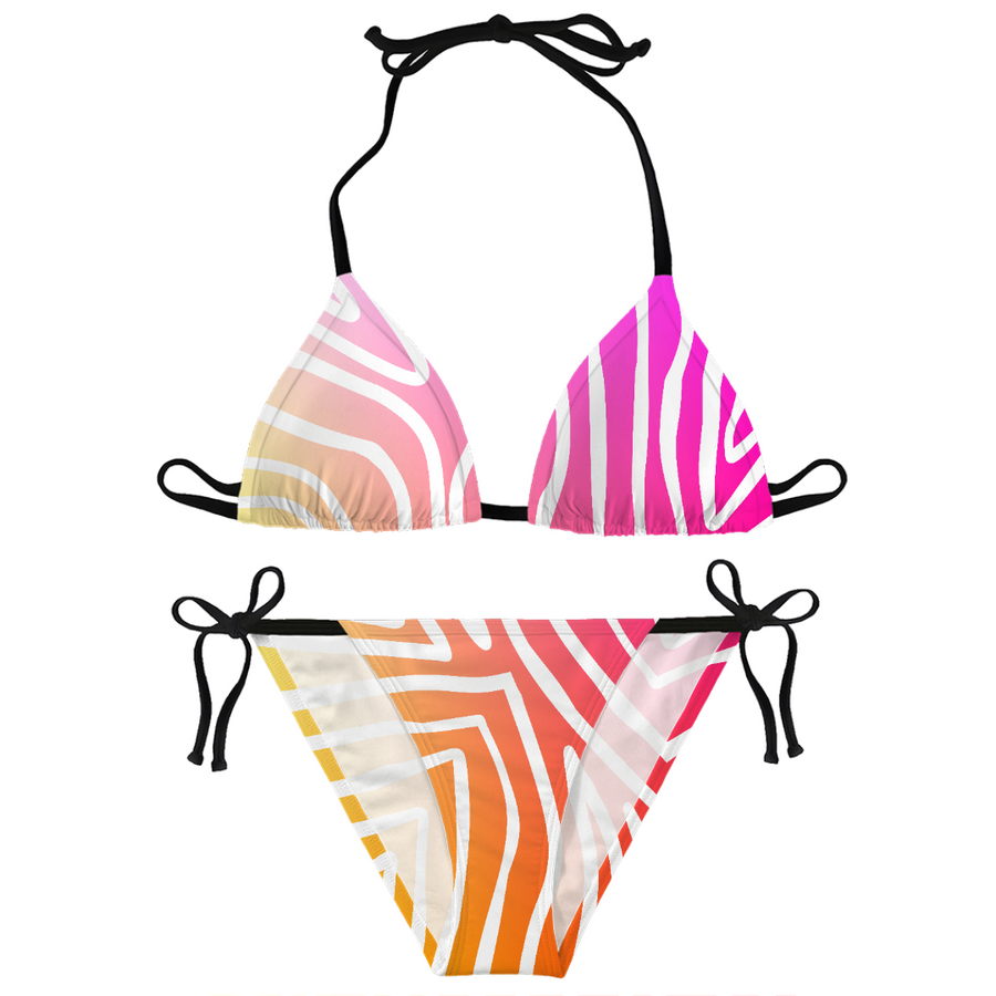 Sunset Zebra Stripes Bikini