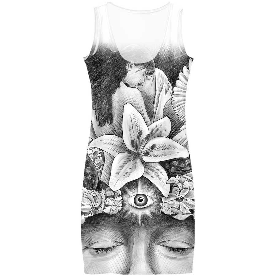 Cool dress with a drawing by Ben Heine