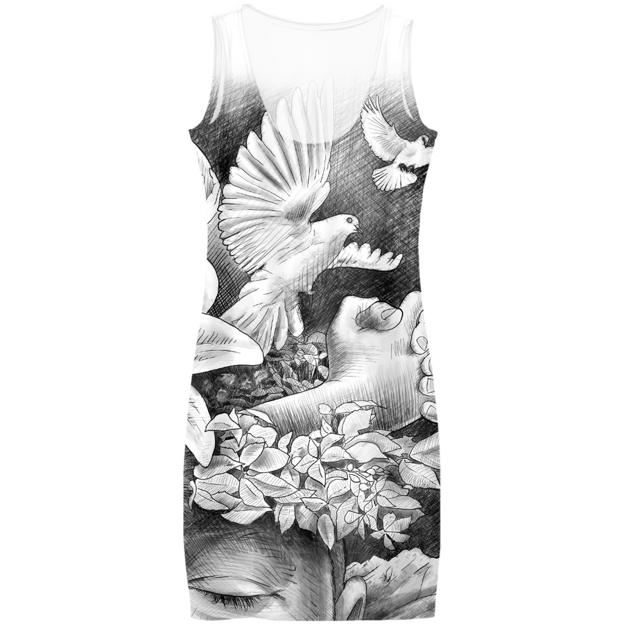 Awesome dress with a drawing by Ben Heine