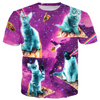 Outer Space Cats With Rainbow Laser Eyes Riding On Pizza