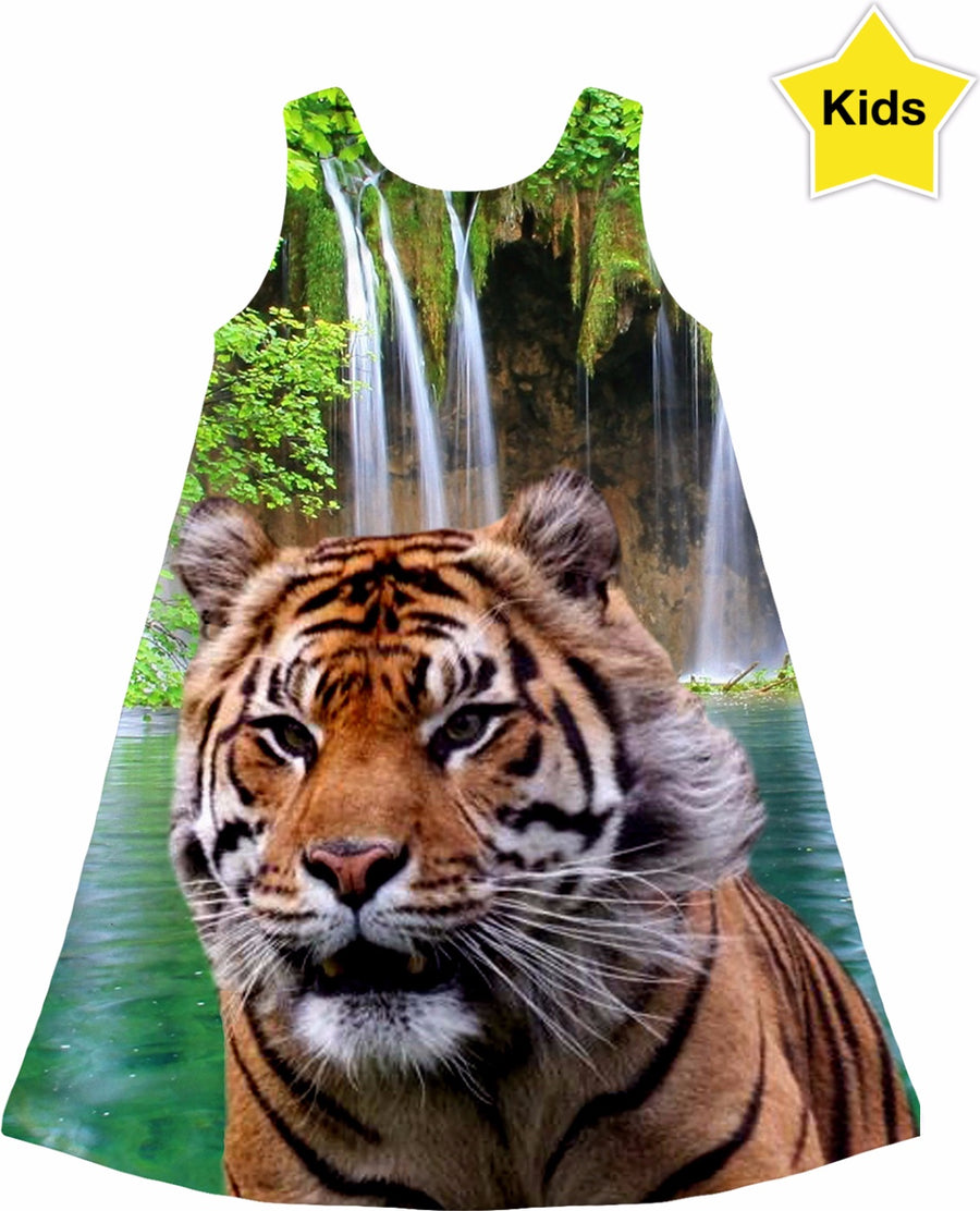 Tiger and Waterfall Kids Dress