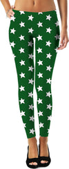 White Stars Green Leggings