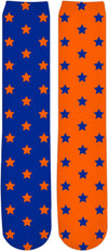 Orange & Blue Split Stars Knee High Socks