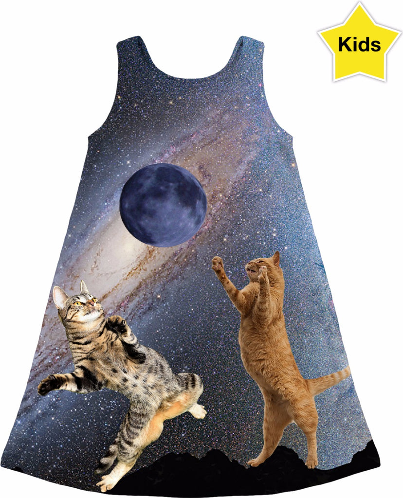 Cats Catching the Moon Kids Dress