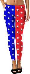 Red & Blue Split Stars Leggings