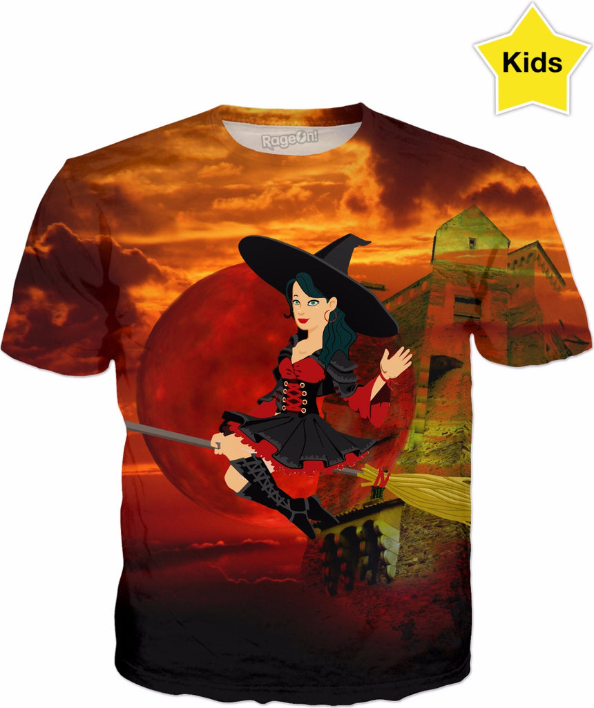 Witch and Red Moon Kids T-Shirt