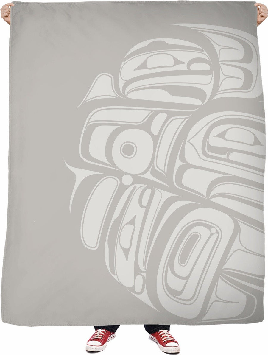 silver killer whale drummer fleece blanket