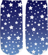 White Stars Blue Ombre Ankle Sock