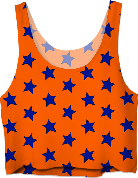 Blue Stars Orange Crop Top