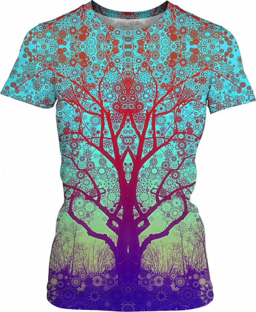 Red Star Trip Tree Womens T-Shirt