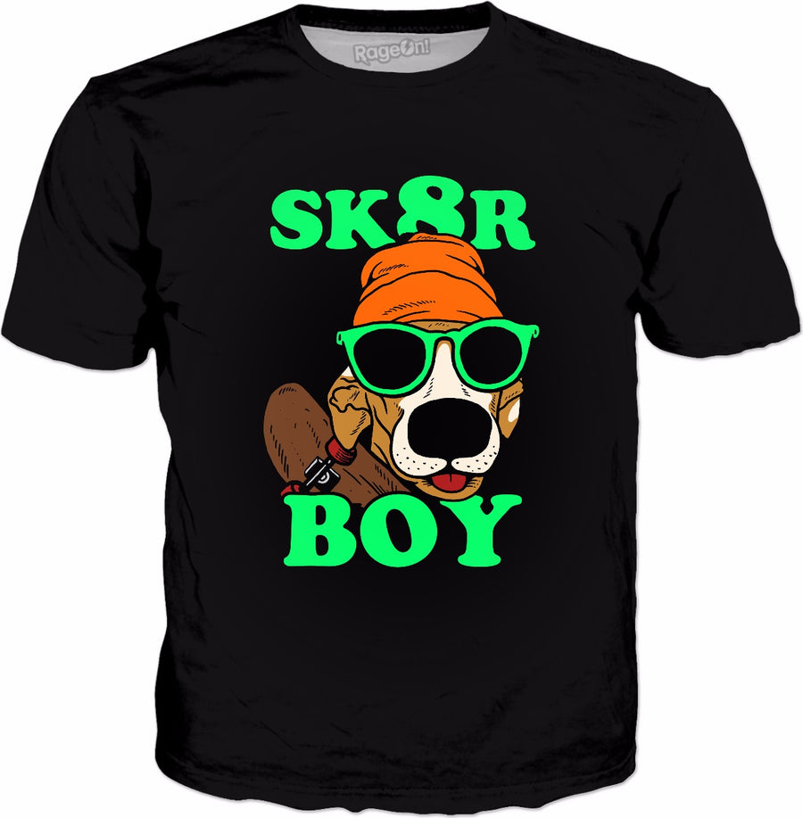 Sk8r Boy T-Shirt - Dog Skateboarding Funny Meme