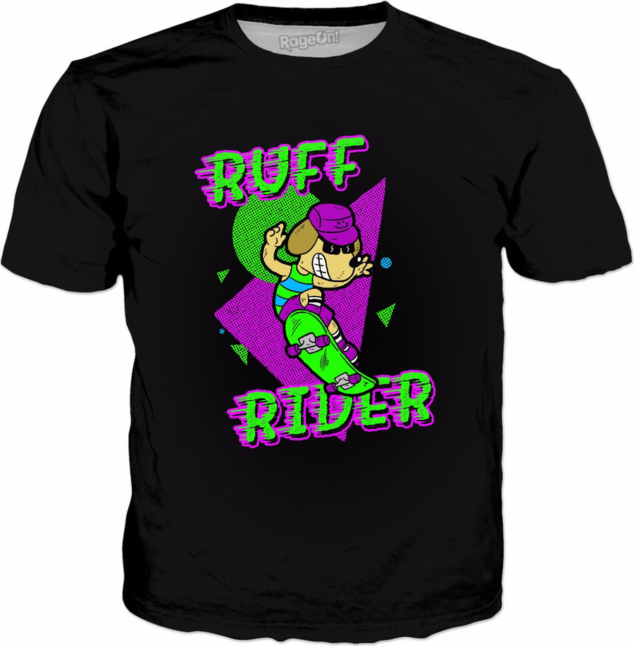 Ruff Rider T-Shirt - Funny Cool Dog Skateboarding Radical