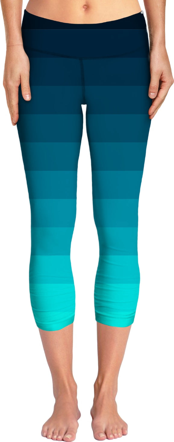 Teal Ombre Striped Yoga Pants
