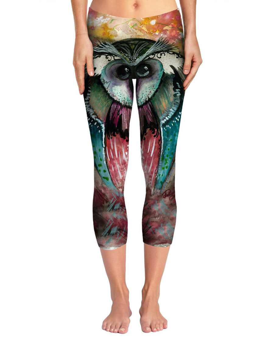 Funky Wood Owl Yoga Pants
