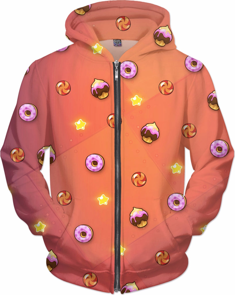Candy Pattern Zip-Up Hoodie