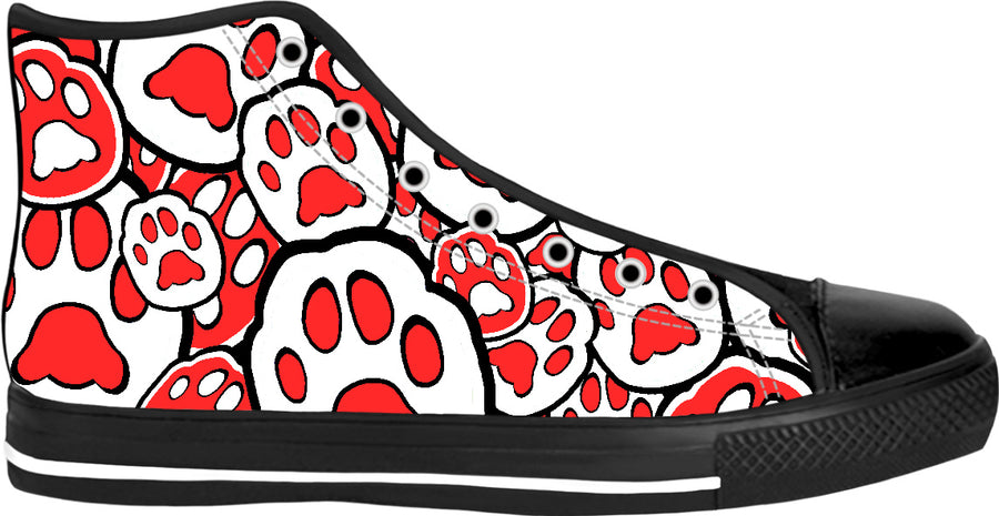 MeowsterS Peppermint Christmas Cat Paw High Tops