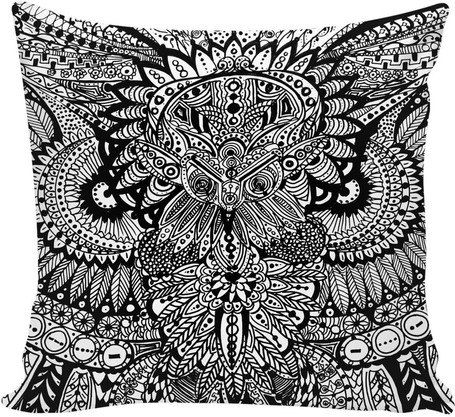 Inked Owl Line Art Couch Pillow