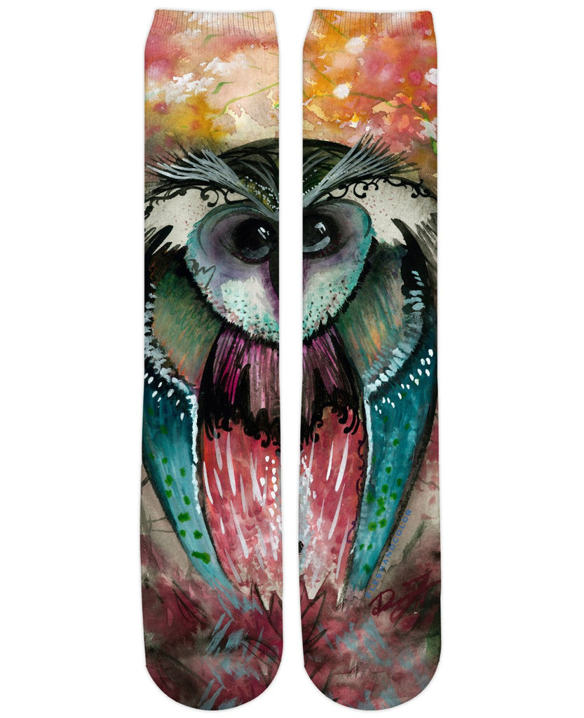 Funky Wood Owl Knee High Socls