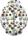 OmNom & Spider Pattern Zip-Up Hoodie