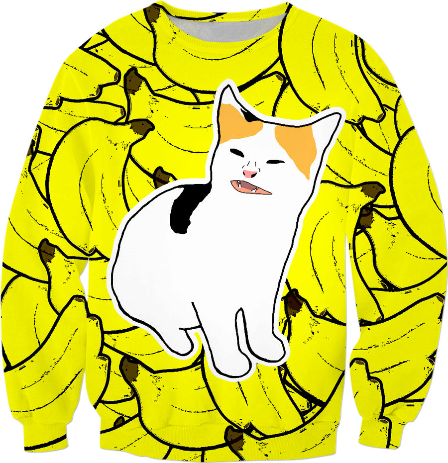 Banana cat scared n angry at banana meme sweatshirt