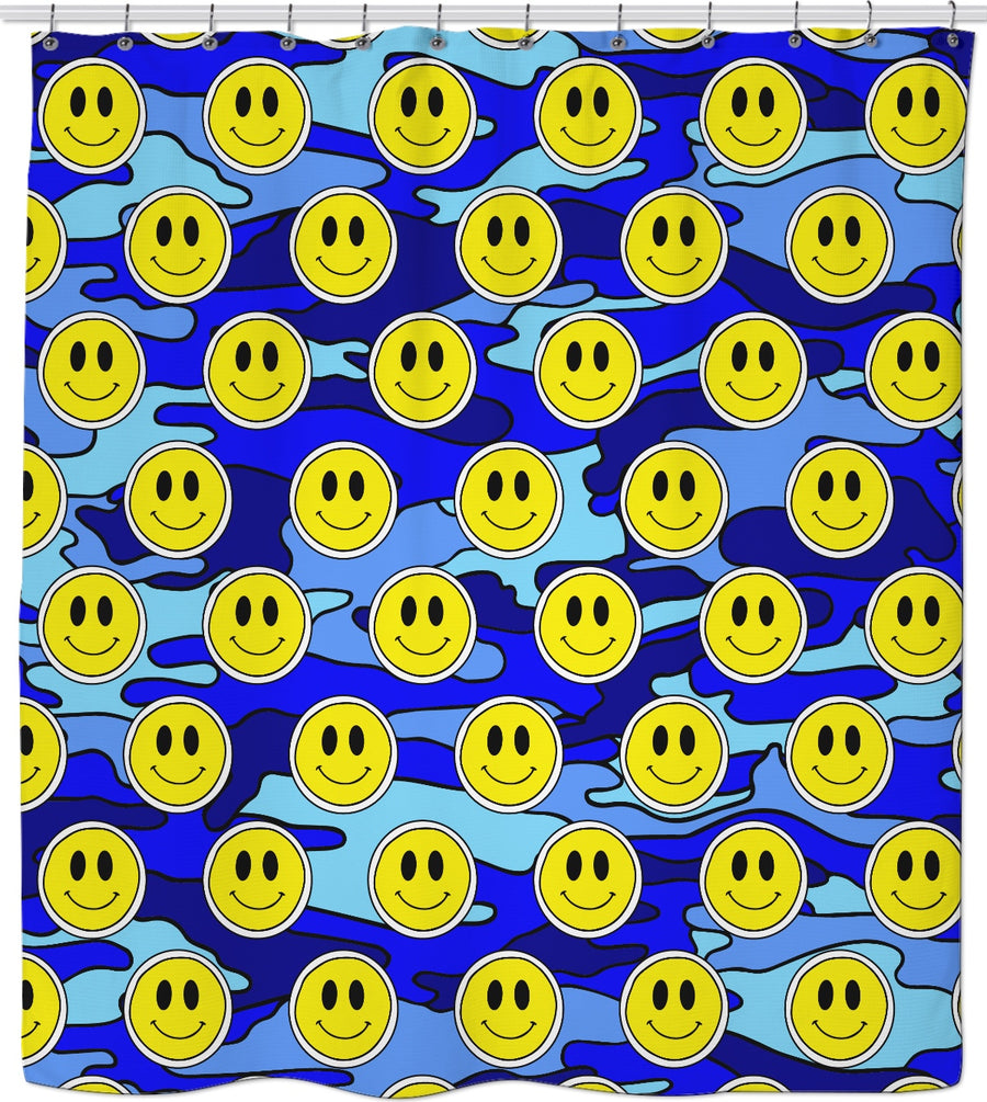 Smiley Blue Camo Shower Curtain
