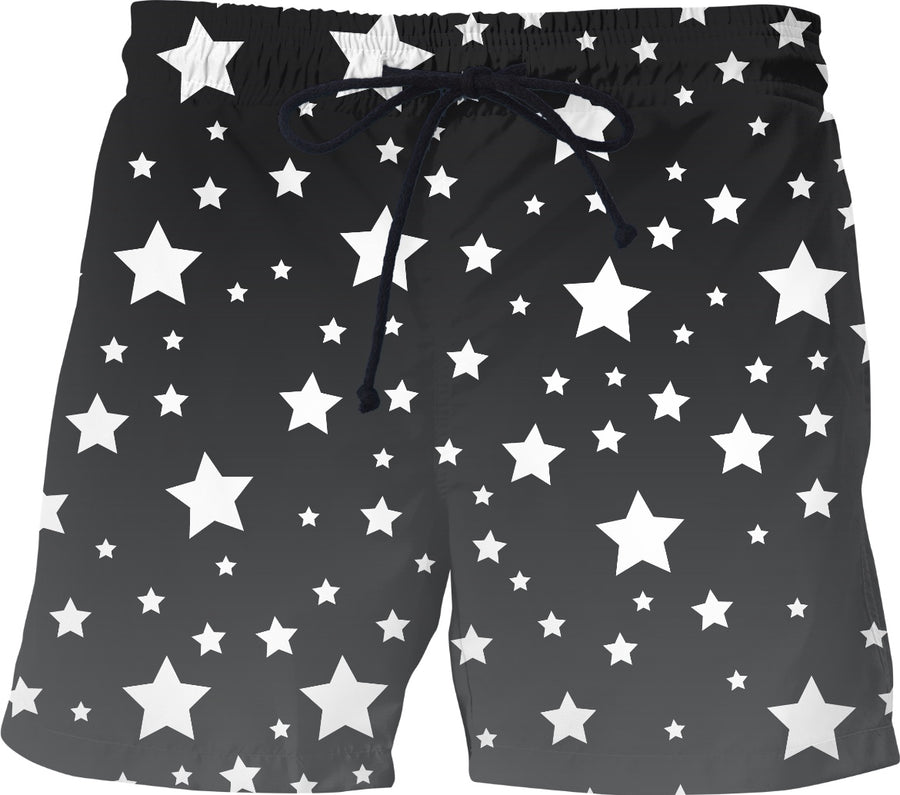 White Stars Gray Ombre Shorts