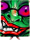 green graffiti gremlin fleece blanket