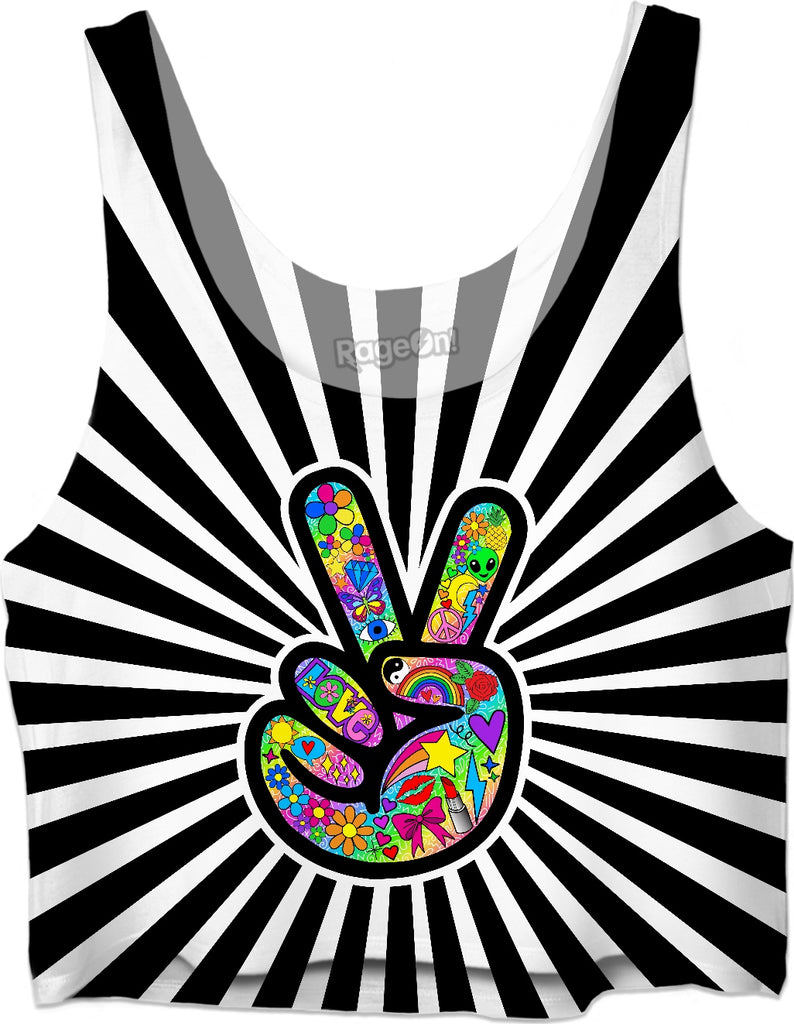 Peace Sign Starburst Crop Top