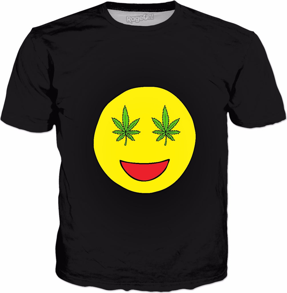 Smiley Weed Eyes Classic Black T-Shirt