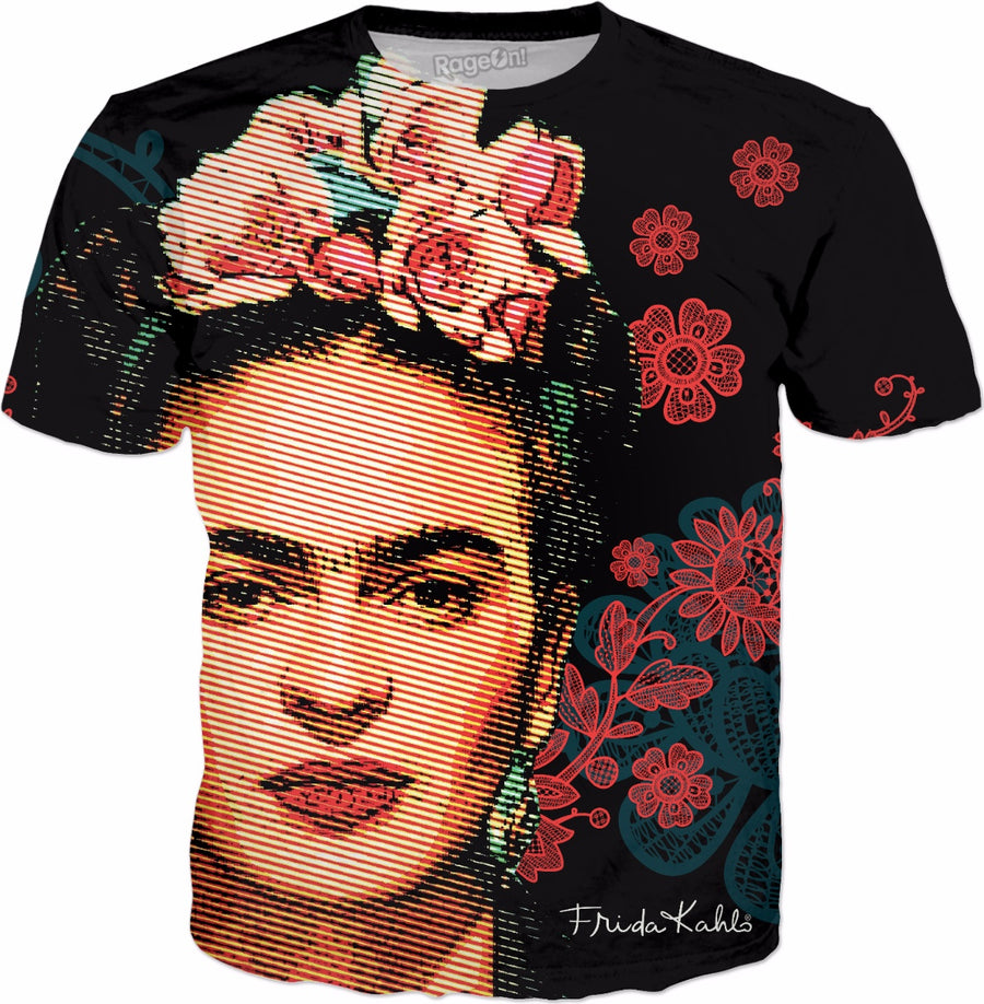 Frida Kahlo Floral Double-Sided T-Shirt