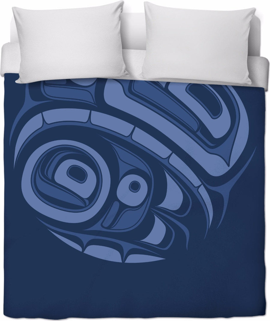 Eagle Drummer Duvet Cover Blue